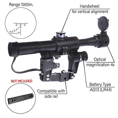 BelOMO Rifle Scope 2 BelOMO POSP 4x24 M. Optical Rifle Scope. Russian Side Mount. 1000m Rangefinder. 1 MOA. Combloc