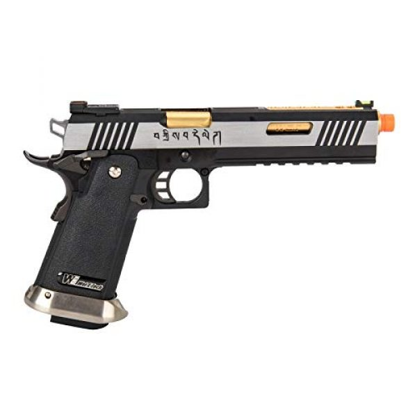 """Lancer Tactical Airsoft Pistol 2 Lancer Tactical WE-Tech Hi-Capa 6"""" IREX Full Auto Competition GBB Airsoft Pistol Black Silver Gold with Markings"""
