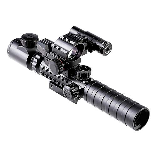 Pinty Rifle Scope 4 Pinty Rifle Scope 3-9x32 Rangefinder Illuminated Optics Red Green Reflex 4 Reticle Sight Green Dot Laser Sight with 14 Slots 1 inch High Riser Mount,45 Degree Mount