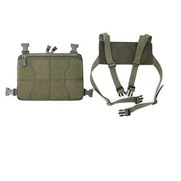 Jadedragon Tactical Backpack 5 Tactical Chest Front Bag Pouch Harness Bag Multipurpose Concealed EDC Carry Pouch Sport Backpack Daypack Tactical Chest Rig for Hiking,Bicycling,Motorcycle Riding,Fishing (Green)
