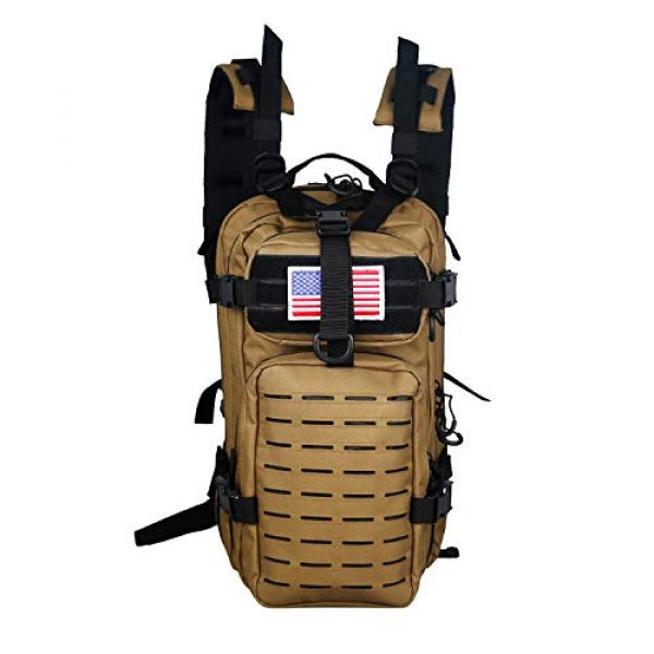 Warriors Product Tactical Backpack 1 Warriors Product Small Assault Backpack Military Tactical Backpack Bag with Flag Patch for Outdoor,Hiking, Camping Travel