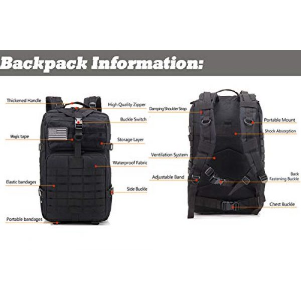 Novemkada Tactical Backpack 3 Tactical Backpack - 1000D Military Molle Army 3 Day Assault Pack Backpacks 40L