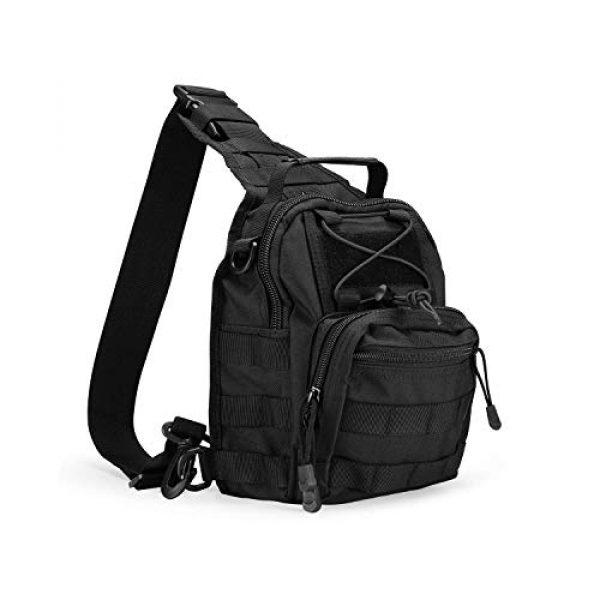 """ProCase Tactical Backpack 1 ProCase Tactical Sling Bag with Pistol Holster Bundle with Tactical Pistol Mag Pouch Molle Pistol Submachine Gun Magazine Bag """"Black"""