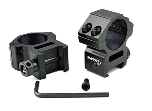 """Sniper Rifle Scope Ring 2 Sniper Heavy Duty Picatinny/Weaver 1"""" Mid-Profile See-Thru Scope Rings, Hard Anodized, Black"""