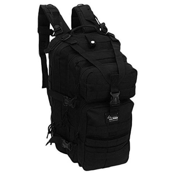 NPUSA Tactical Backpack 1 Mens 18 Inch Molle Hydration Ready Tactical Gear Daypack Backpack + Key Ring Carabiner