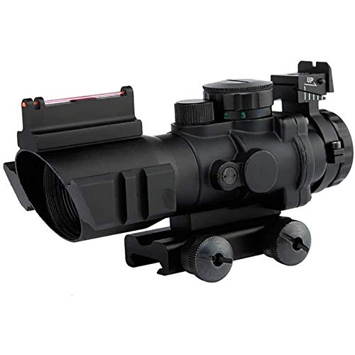 TTHU Rifle Scope 1 Rifle Scope Tactical Rimfire Scope 4X32 Red/Green/Blue Triple Illuminated Rapid Range Reticle Rifle Scope W/Top Fiber Optic Sight and Weaver Slots
