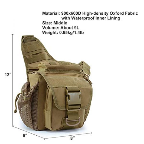 BraveHawk OUTDOORS Tactical Backpack 6 BraveHawk OUTDOORS Tactical Messenger Bag, 900D Oxford Waterproof Outdoor EDC Sling Pack for Fishing Hiking Camping Trekking Cycling