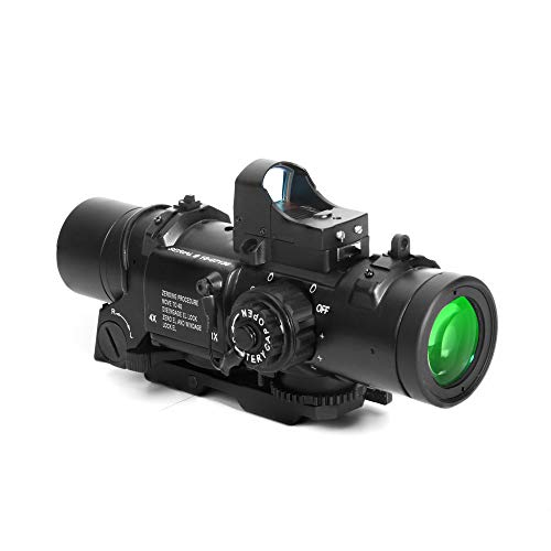 Luger Rifle Scope 2 Luger Tactical 1x-4x Magnification Optic Fixed Dual Purpose Scope Combo with Mini Red Dot Sight Wide Angle for Rifle Hunting Shooting