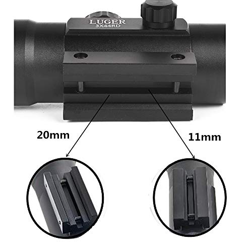 Luger Rifle Scope 4 Luger Tactical 3X44 Red Green Dot Sight Rifle Scope for 11mm/20mm Rail Mount