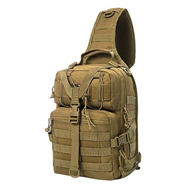 AXEN Tactical Backpack 2 AXEN Tactical EDC Sling Bag Pack, Military Rover Shoulder Molle Backpack, with Flag Patch