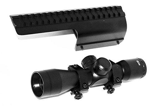 TRINITY Rifle Scope 6 TRINITY Hunter 4x32 Sight for Benelli Super nova Benelli Nova Picatinny Weaver Base Mount Adapter Aluminum Black Tactical Optics mildot Reticle Target Range Gear Single Rail.
