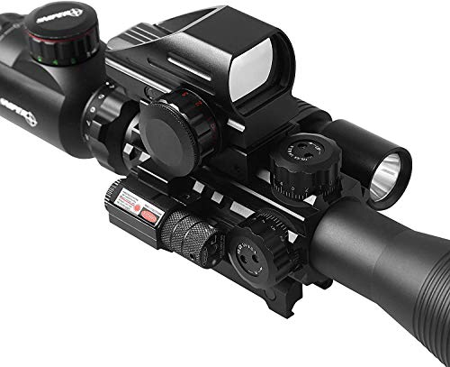 TPO Rifle Scope 5 TPO ST 4-16x50 Rifle Scope Combo Flashlight + Green Laser Sight+ 4 Holographic Reticle Red/Green Dot for Weaver/Rail Mount