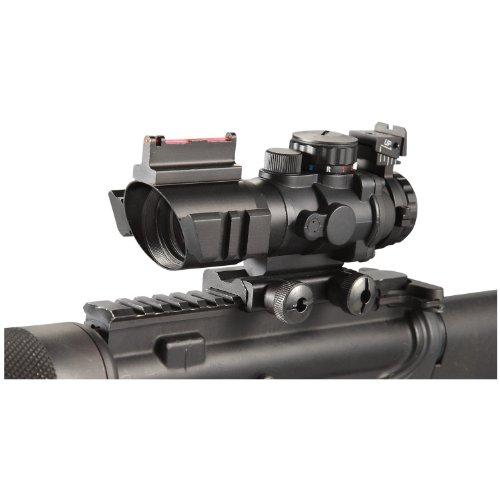Ade Advanced Optics Rifle Scope 1 Ade Advanced Optics 4x32 Fixed Power Green/blue/red Illuminated Reticle Compact Rifle Scope with Fiber Optic Tactical Sight and Weaver Slots