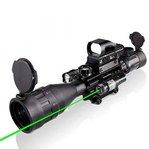 XOPin Rifle Scope 1 4-16x50AO Rifle Scope Combo Dual Illuminated with Green Laser sight 4 Holographic Reticle Red/Green Dot for Weaver/Rail Mount