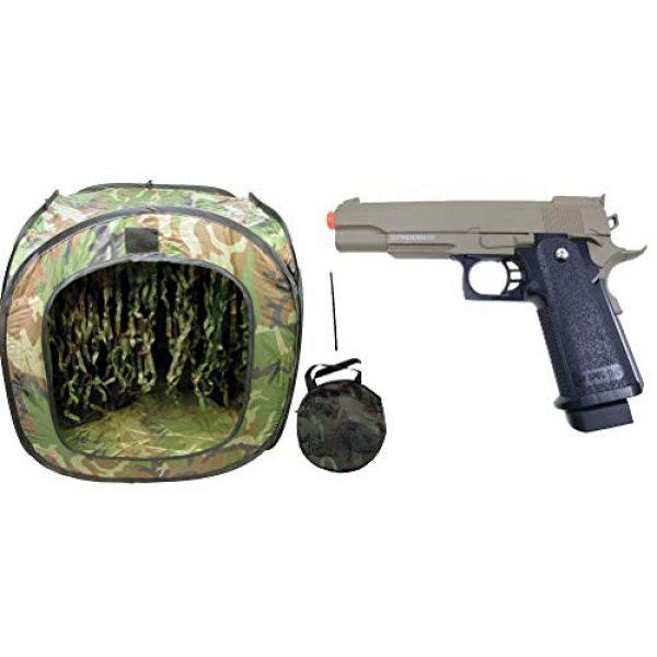GE / JG Airsoft Pistol 1 GE / JG Hi-Capa Metal Slide Spring Powered Airsoft Pistol with Portable Airsoft BB Trap Target Tent Package (Tan)