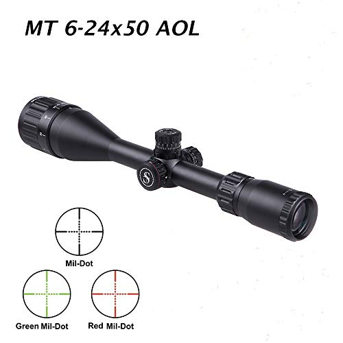 "Sniper Rifle Scope 7 Sniper MT 6-24X50 AOL Hunting Rifle Scope Red, Green Illuminated Mil Dot Reticle/Fully Multi-Coated Lens/Wind and Elevation Adjust/Front AO Adjust for fine Tuning/3"" Sunshade"