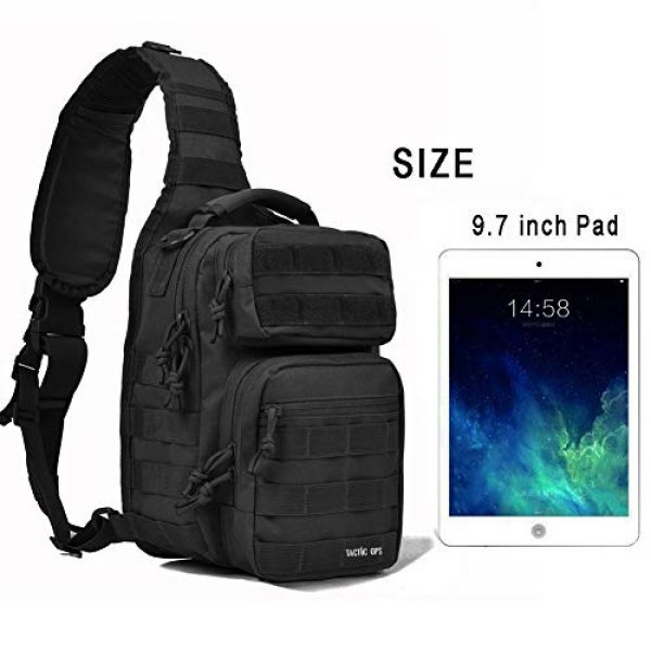 Tactic Ops Tactical Backpack 6 Tactical Sling Bag Backpack Pack Military Waterproof Assault Rover Shoulder Sling Molle Range Bag Everyday Carry EDC Diaper Bag Small Day Pack by Tactic Ops