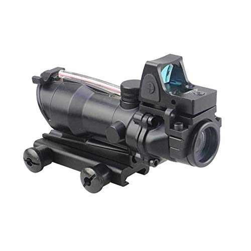 AJDGL Rifle Scope 7 AJDGL Optic Scope 4x32 Scope True Fiber Red Illuminated Crosshair Reticle Scopes with 20mm Rail Mount Holographic Sight