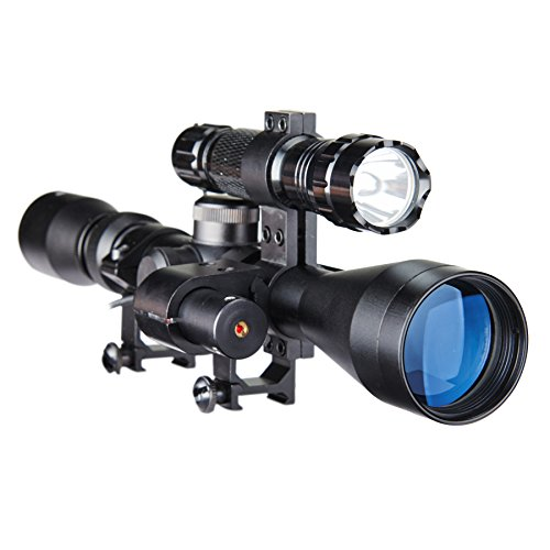Pinty Rifle Scope 1 Pinty 3-9X40 Duplex Optical Hunting Rifle Scope Combo with Red Laser and Torch