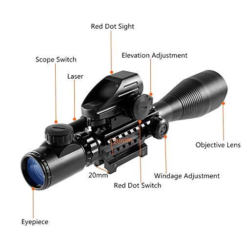 HIMIFOY Rifle Scope 4 HIMIFOY 4-12X50 EG Tactical Rifle Scope Dual Illuminated Optics & Rangefinder Illuminated Reflex Sight 4 Holographic Reticle Red/Green Dot Sight & IIIA/2MW Laser Sight(Red)