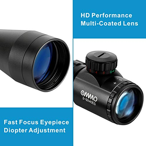 OMMO Rifle Scope 3 OMMO 3-9X40 Rifle Scope, Red Green Illuminated Optical Mil-Dot Riflescope for Hunting, with Flip-Open Covers