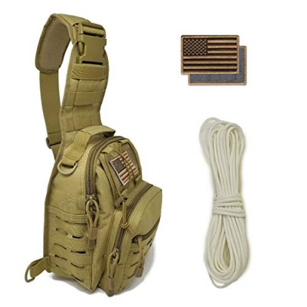 Gearrific Tactical Backpack 1 Tactical Sling Bag + G.I.D. Paracord + Flag Patch Combo - Military Day Pack, Small Backpack, Fishing, Hiking, Hunting