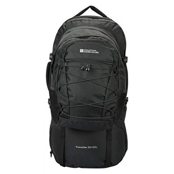Mountain Warehouse Tactical Backpack 1 Mountain Warehouse Traveller 60 + 20L Travel Backpack - for Camping, Outdoor Rucksack with Detachable Daypack Black Women's Fit