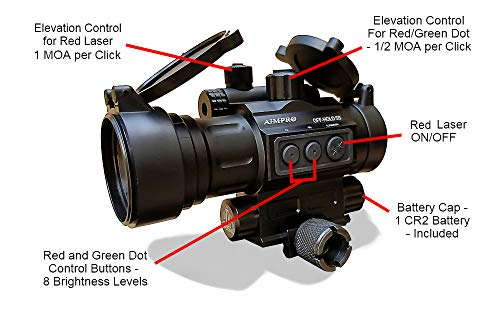 AIMPRO Rifle Scope 6 AIMPRO Tactical Red Dot Reflex Sight with Red Laser Combo