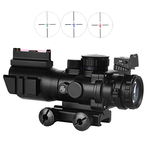 BESTSCOPE Rifle Scope 4 BESTSCOPE Rifle Scope 4x32 Red/Green/Blue Illuminated Quickly Range Reticle Scope with Top Fiber Optic Sight and Weaver Slots