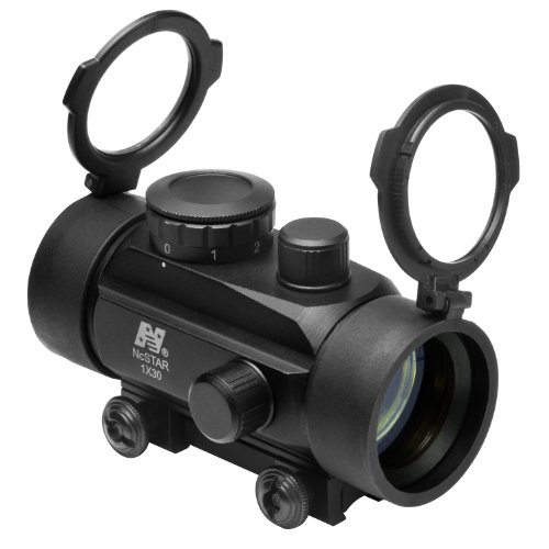 """M1Surplus Rifle Scope 1 NcStar 1x30 Tactical Red Dot Scope Sight w/ Flip Up Lens - Black Color - Aluminum Material - Covers Fits 3/8"""" Dovetails"""