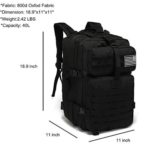 VooDoo Tactical Tactical Backpack 3 Military Tactical Assault Backpack Army MOLLE Rucksack, 3 Day Pack,for Outdoor Hiking Camping Trekking Hunting (Black)
