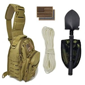 Gearrific Tactical Backpack 1 Tactical Sling Bag + Camping Shovel + G.I.D. Paracord + Flag Patch Combo - Military Day Pack, Small Backpack, Fishing, Hiking, Hunting