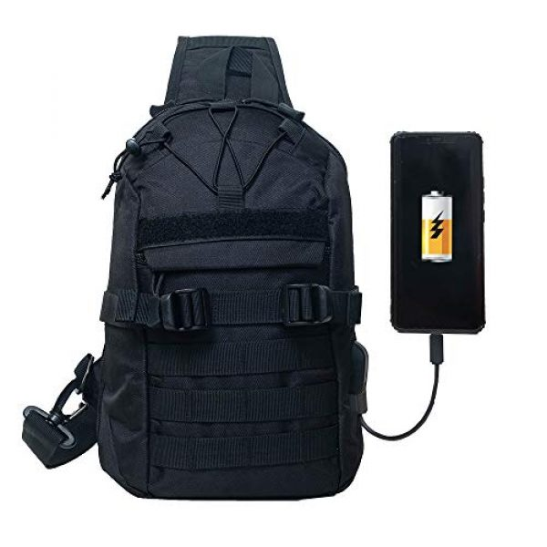Saigain Tactical Backpack 1 Saigain Men's Tactical Molle Sling Bag Small Chest Shoulder Backpacks With USB Charging Outdoor Casual Hiking Camping (black)