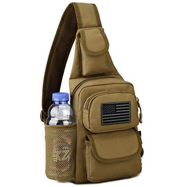 Protector Plus Tactical Backpack 1 Protector Plus Tactical Sling Bag Military MOLLE Crossbody Pack Chest Shoulder Backpack with Water Bottle Holder Pouch EDC Diaper Motorcycle Daypack (Patch Included)