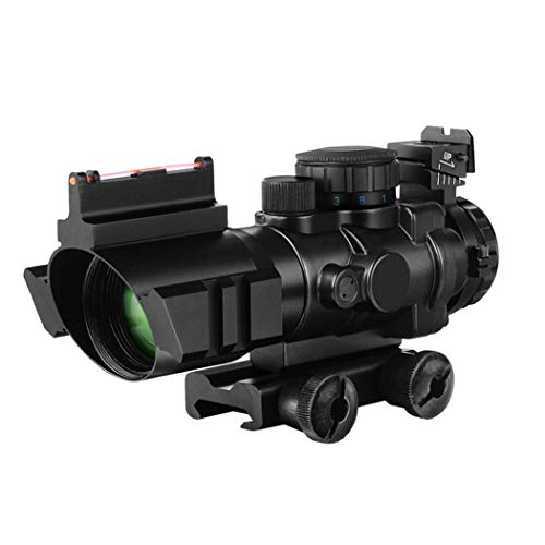 BESTSCOPE Rifle Scope 1 BESTSCOPE Rifle Scope 4x32 Red/Green/Blue Illuminated Quickly Range Reticle Scope with Top Fiber Optic Sight and Weaver Slots