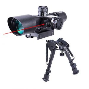 Pinty Rifle Scope 1 Pinty 2.5-10x40 Red Green Illuminated Mil-dot Tactical Rifle Scope with Red Laser Combo & Carbon Fiber Rifle Bipod with 6 inch to 9 inch Adjustable Legs & Picatinny Adapter