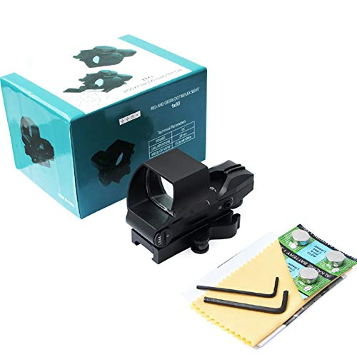 SUIYEU Rifle Scope 6 Reflex Sight   45 Degree Offset Mount Included   Reflex Rifle Optic with 4 Reticle Patterns   Adjustable Color Settings   Red Dot Green Dot Gun Scope