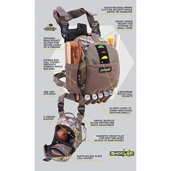 Allen Company Tactical Backpack 7 Allen Company Shocker Cut-N-Run Turkey Hunting Pack - 3in1 Functionality: Thigh Pack, Sling Pack, Chest Pack - Multi Functional -9 Features, Camo 19170 One Size