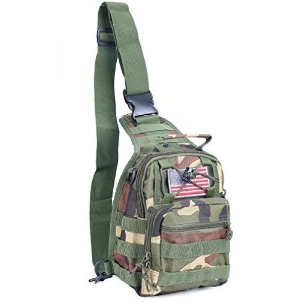 boxuan Tactical Backpack 1 Boxuan warehouse Outdoor Tactical Shoulder Backpack+flag patch, Military & Sport Bag Pack Daypack for Camping, Hiking, Trekking, Rover Sling,chest bag Multi-Size Options (green camouflag, s)