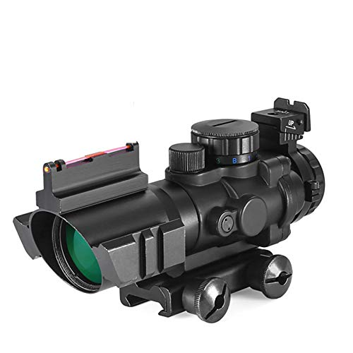 wuzj Rifle Scope 1 Rifle Scope 4x32 Red/Green/Blue Triple Illuminated Rapid Range Reticle Scope with Top Fiber Optic Sight and Weaver Slots