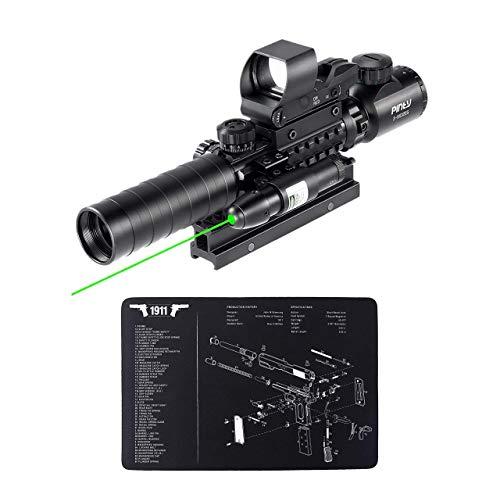 "Pinty Rifle Scope 1 Pinty Rifle Scope 3-9x32 Rangefinder Illuminated Reflex Sight Green Dot Laser Sight & 17""x11"" Handgun Cleaning Mat Detailed Pistol Diagram"