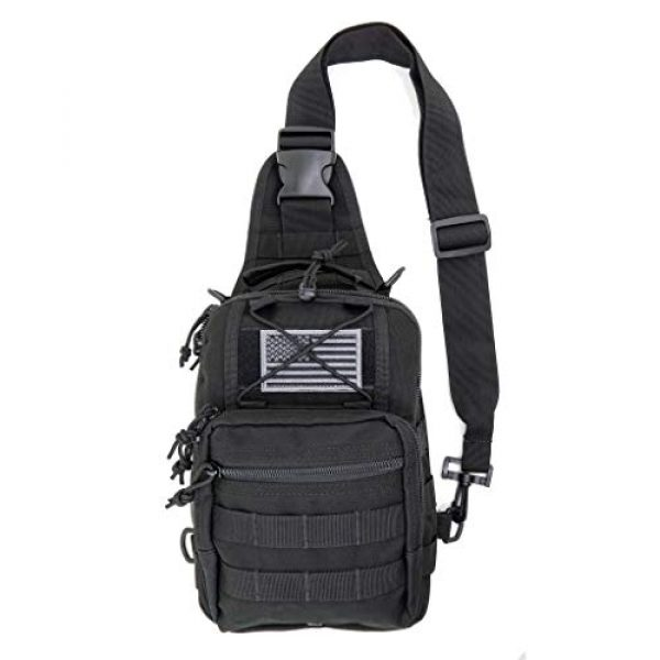 LINE2design Tactical Backpack 1 LINE2design First Aid Sling Backpack - EMS Equipment Emergency Medical Supplies Tactical Range Shoulder Molle Bag - Heavy Duty Sports Outdoor Rescue Pack - Perfect for Camping Hiking Trekking - Black