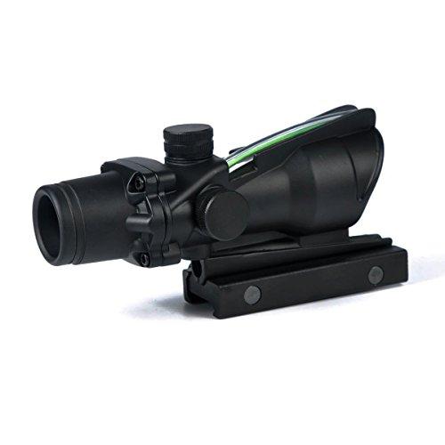 CL-SPORTS Rifle Scope 1 CL-SPORTS Acog 4x32 Green Fiber Scope Dual Illuminated Dot .223 Ballistic Reticle Rifle Scope