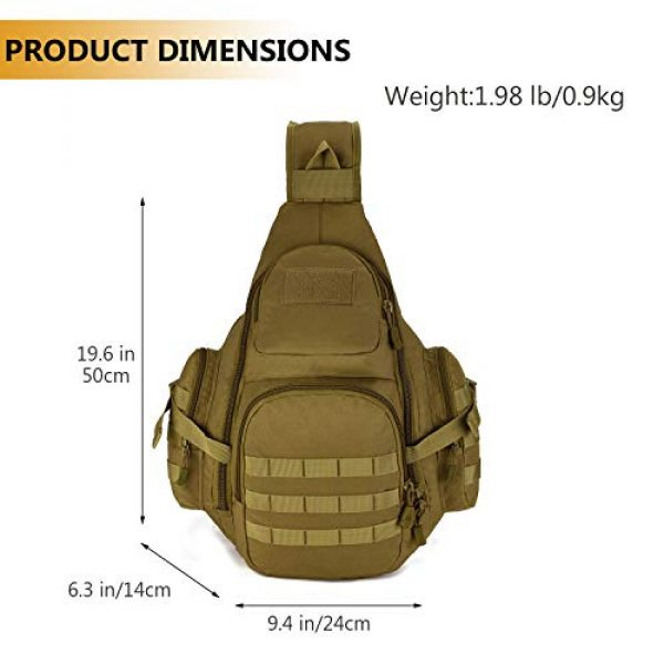 Protector Plus Tactical Backpack 4 Protector Plus Tactical Sling Bag Military MOLLE Crossbody Pack (Patch Included)