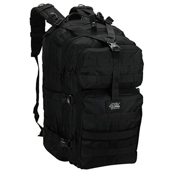 """NPUSA Tactical Backpack 1 Mens Large 21"""" Tactical Gear Molle Hiking Hydration Ready Backpack Daypack Bag + Key Ring Carabiner"""