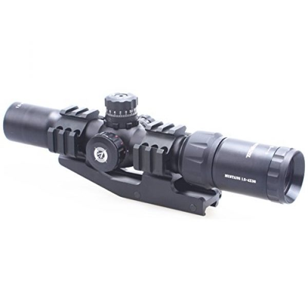 Vector Optics Rifle Scope 5 Vector Optics 1.5-4x30mm 1/2 MOA Tactical Riflescope with Red, Green & Blue Illuminated Chevron Reticle, Free 30mm One Piece Triple Rails Mount Rings (Matte Black)