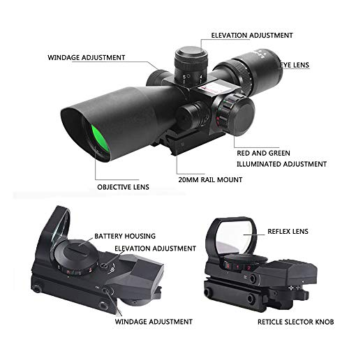 Luger Rifle Scope 4 2.5-10x40 Tactical Rifle Scope - Red Green Illuminated Mildot Range Finder Reticle
