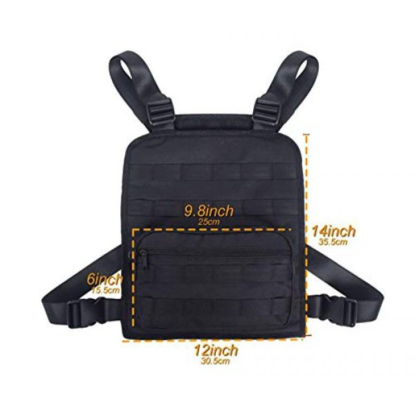 JFFCE Tactical Backpack 7 Tactical Chest Bag Pouch MOLLE Chest Panel Harness Multipurpose EDC Carry Pouch Tactical Chest Rig Black