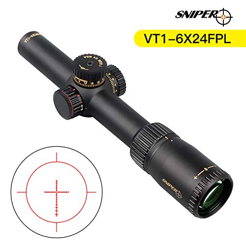 Sniper Rifle Scope 2 VT1-6X24FFP First Focal Plane (FFP) Scope with Red/Green Illuminated Reticle Includes Scope Mount