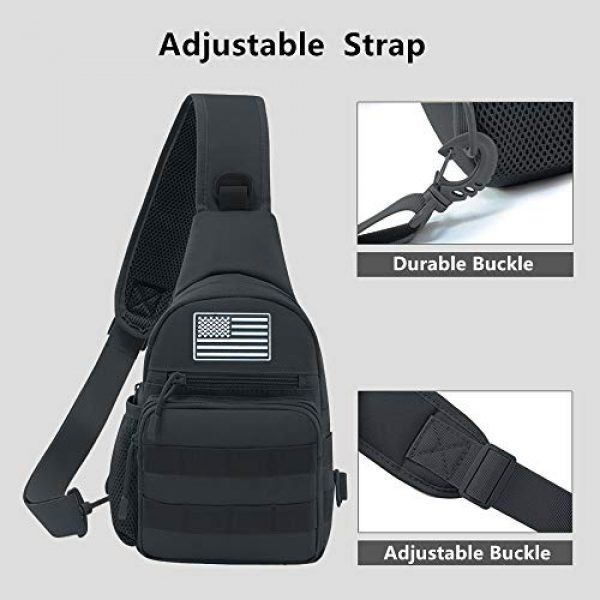 Jueachy Tactical Backpack 5 Tactical Sling Bag Military Shoulder Molle Chest Pack Shoulder Sling Backpack with USA Flag Patch